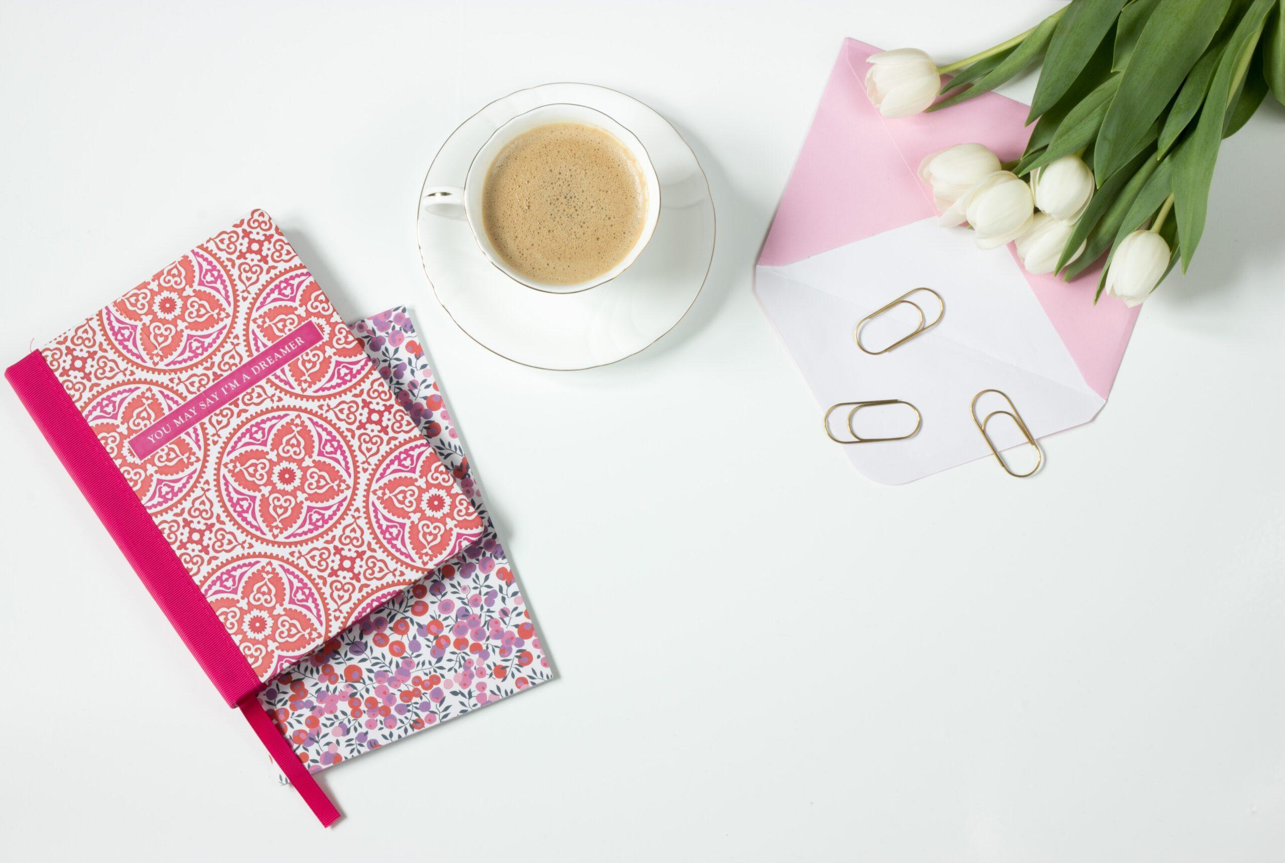 coffee flowers notebook work desk 162584
